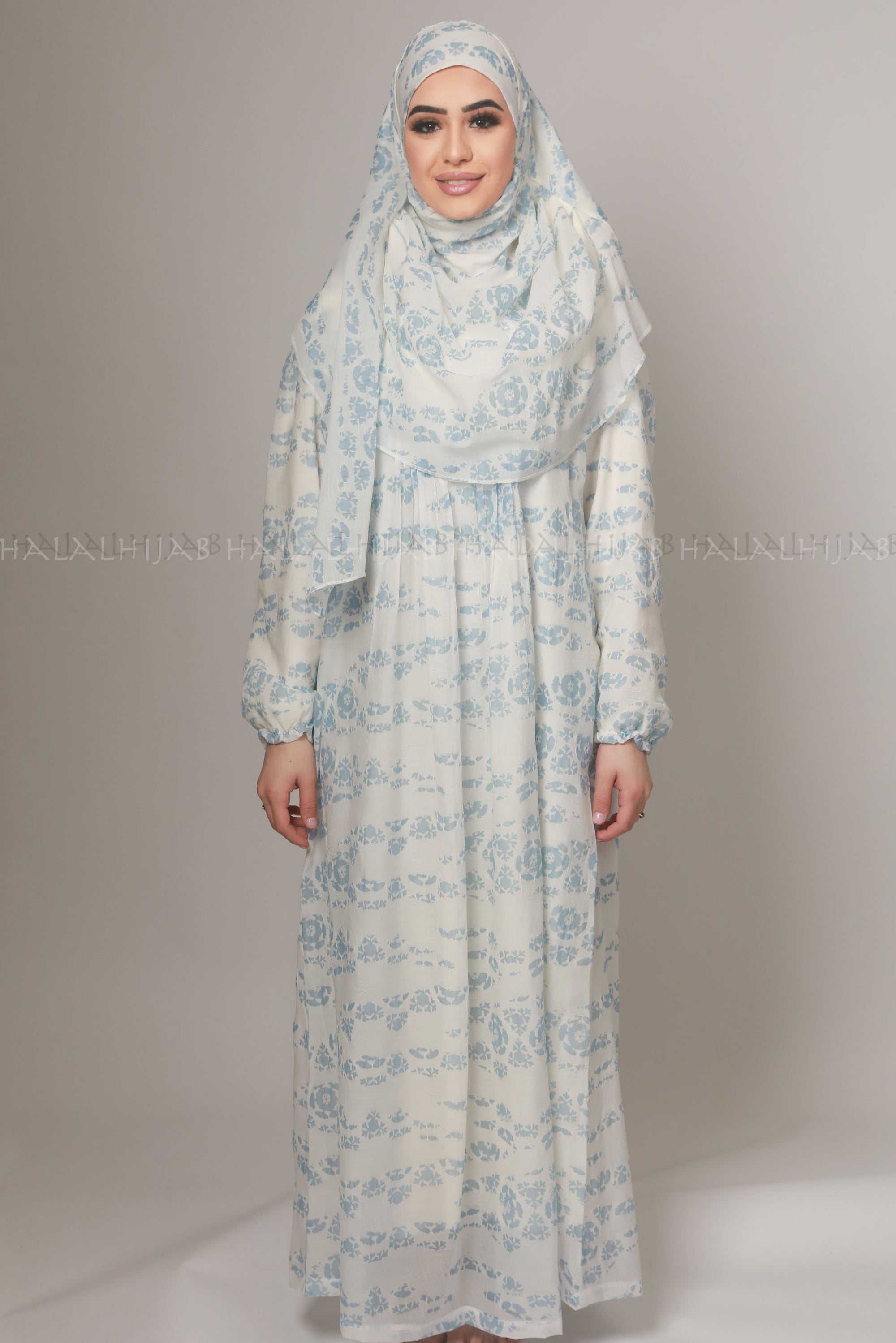 Sky Blue Floral Print Muslimah Dress