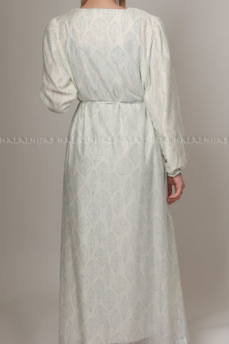 Sky Blue Leafy Print Modest Dress