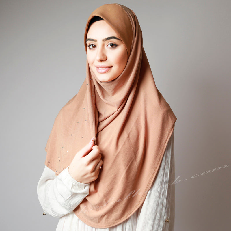 Dusty Golden Diamond Crystallised Stretchy Party Hijab
