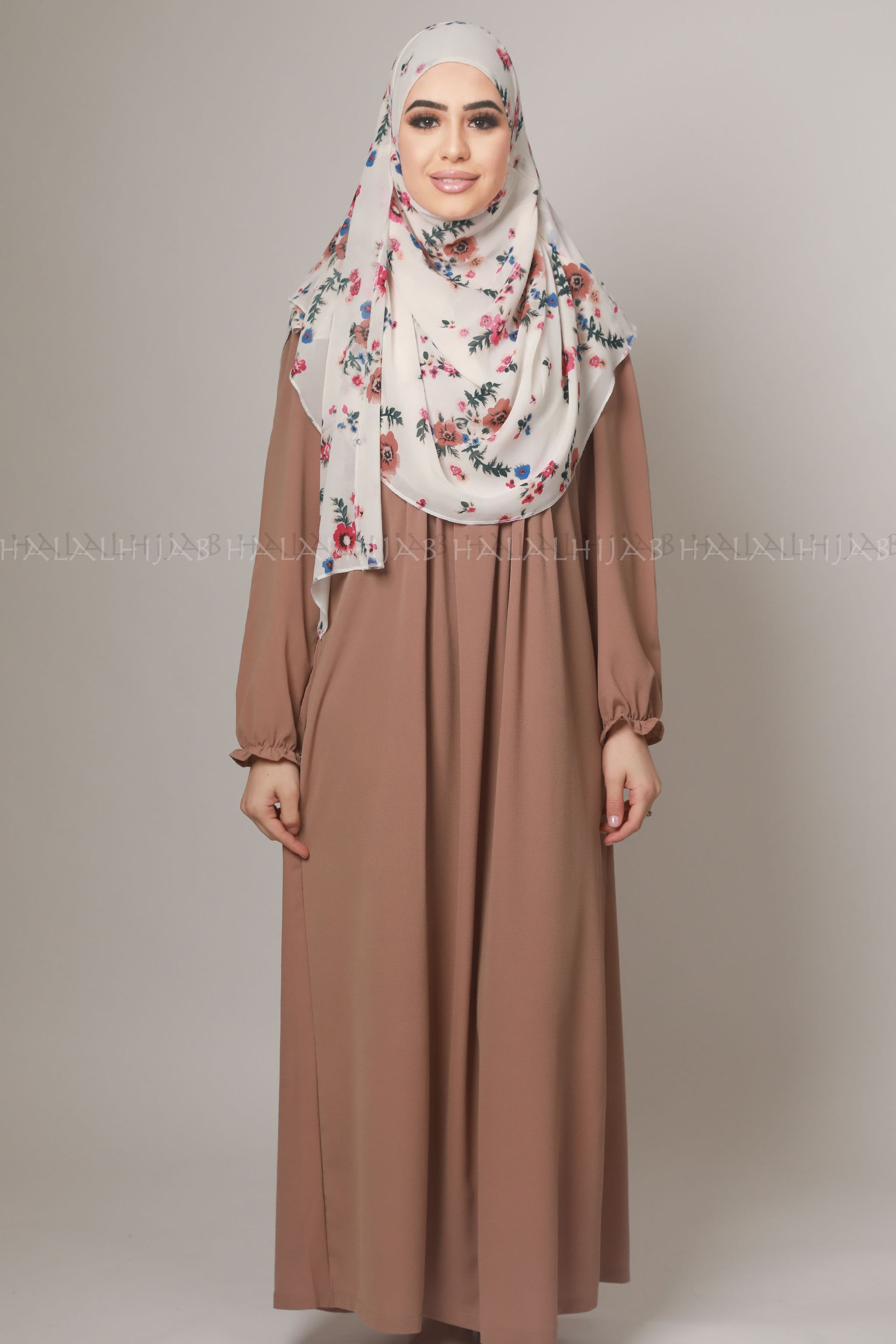 Coffee Brown Georgette Modest Dress