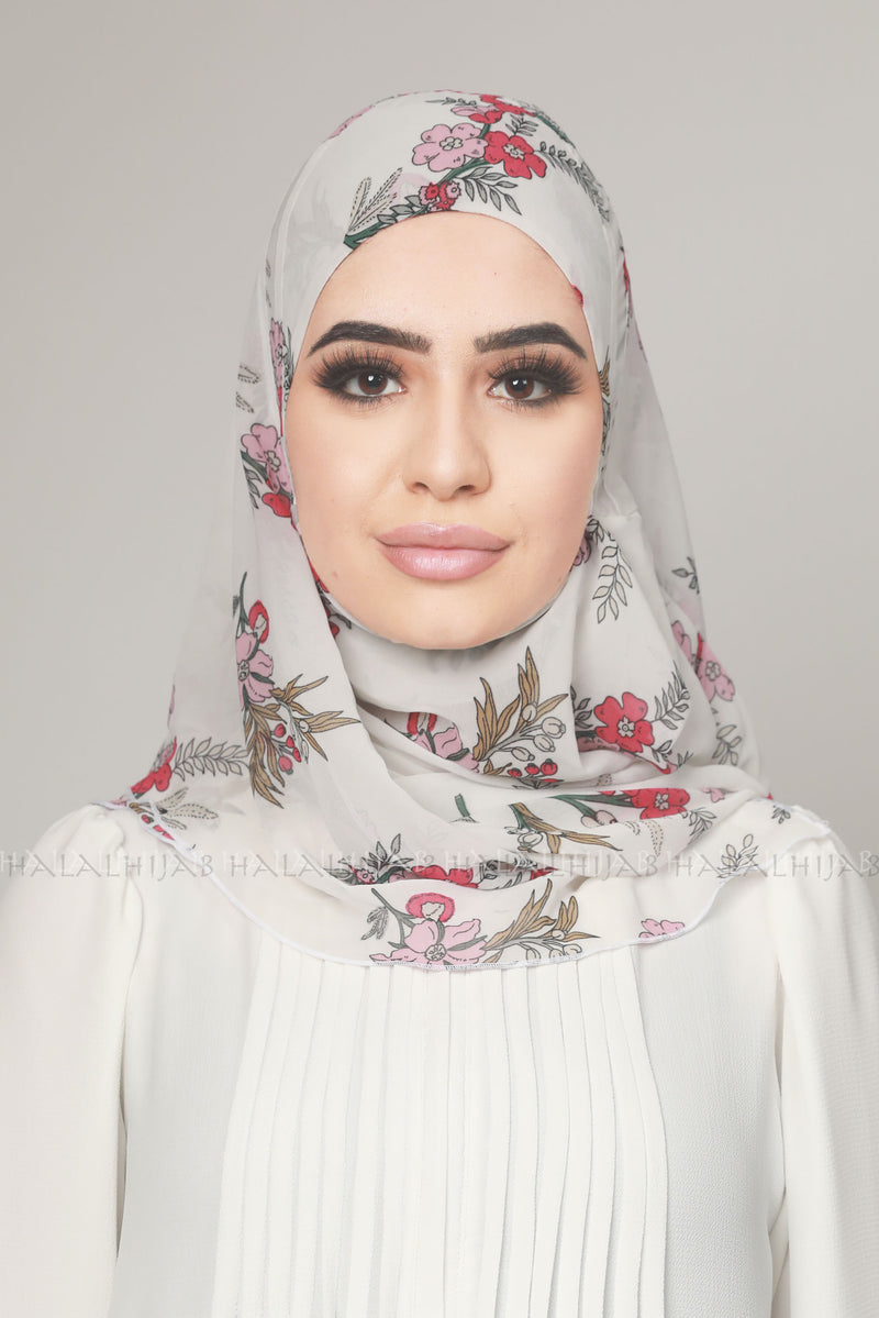 Red Floral White Chiffon Instant Hijab