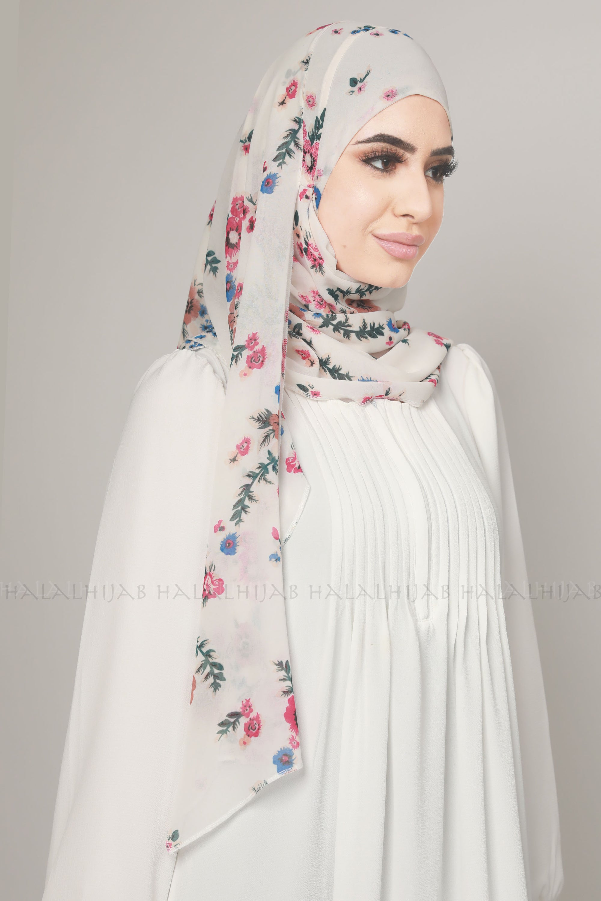 White Pink Floral Print Instant Chiffon Hijab