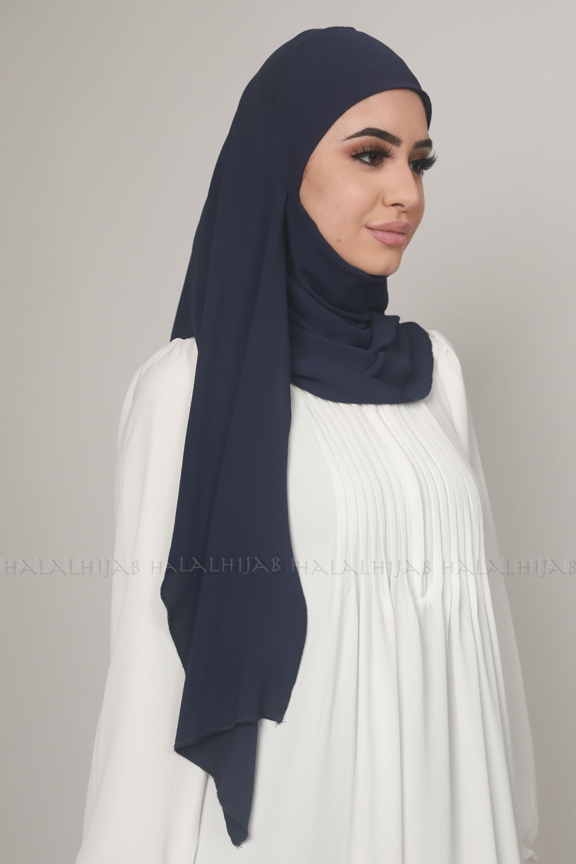 Navy Chiffon Georgette Instant Pin-Free Multi Style Hijab