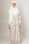 Ivory White Red Floral Islamic Dress