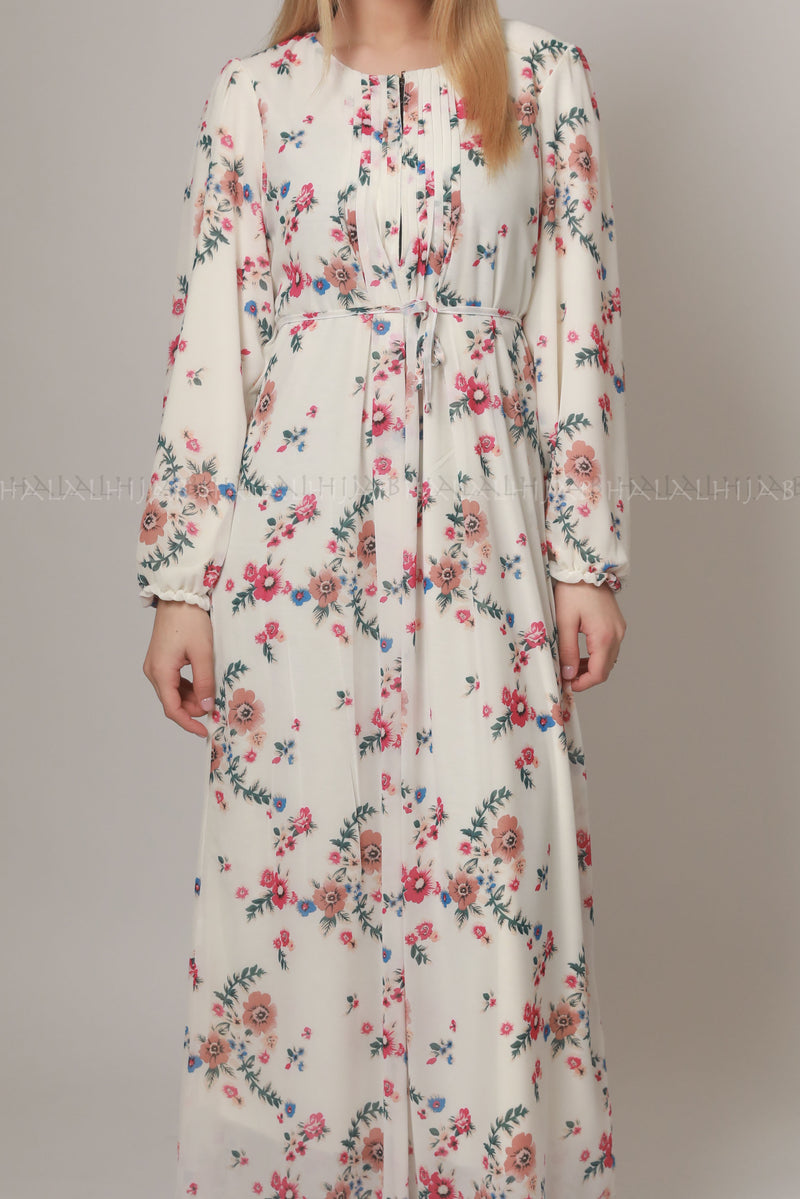 White Pink Floral Print Modest Dress