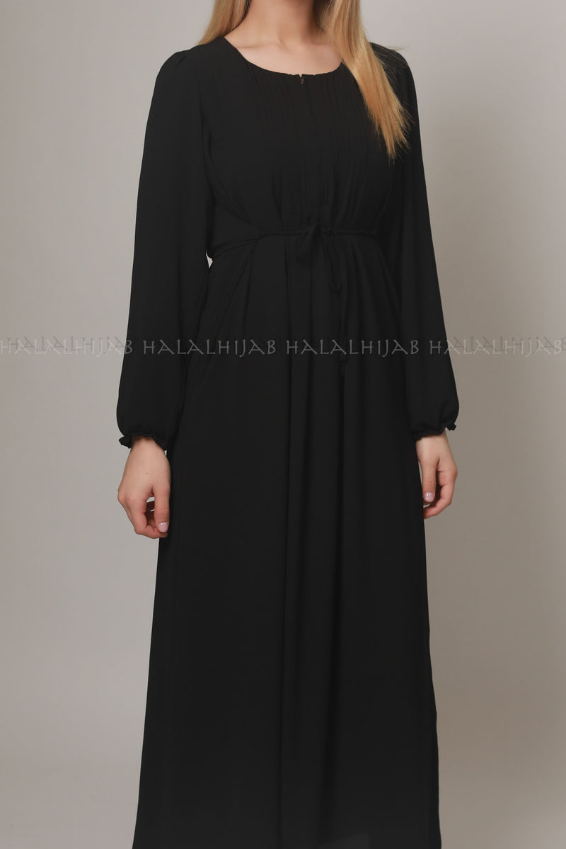 Black Georgette Full Sleeve Long Dress