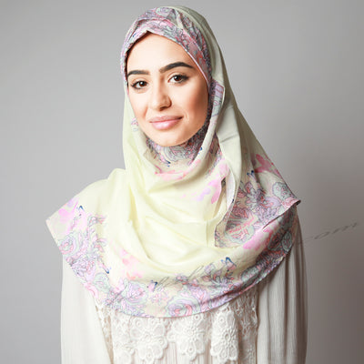 Light Cream Beige Printed Luxurious Instant Hijab