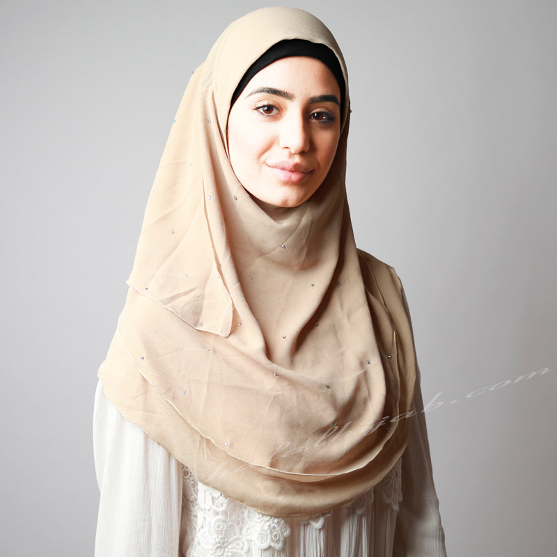 Light Dusty Golden Beige Chiffon Crystallised Instant Hijab