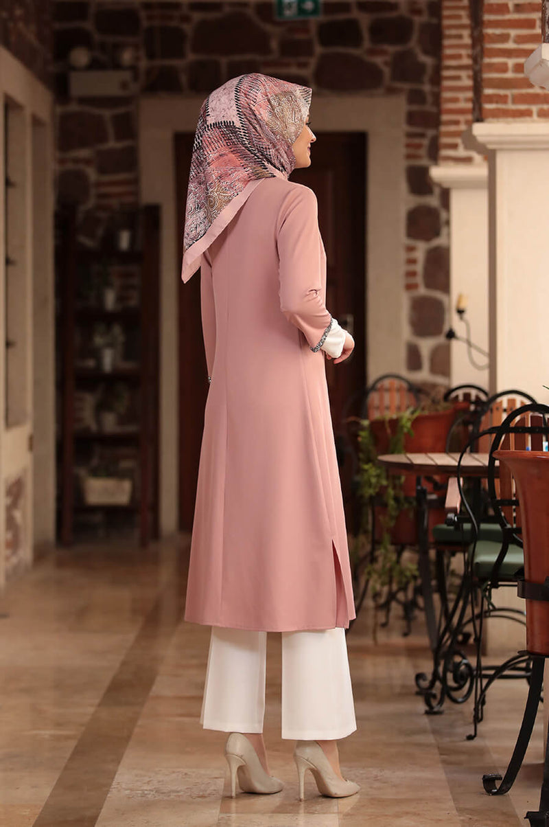 Three Pieces Blush Pink Peach and White Modest Dreamy Suit Pants