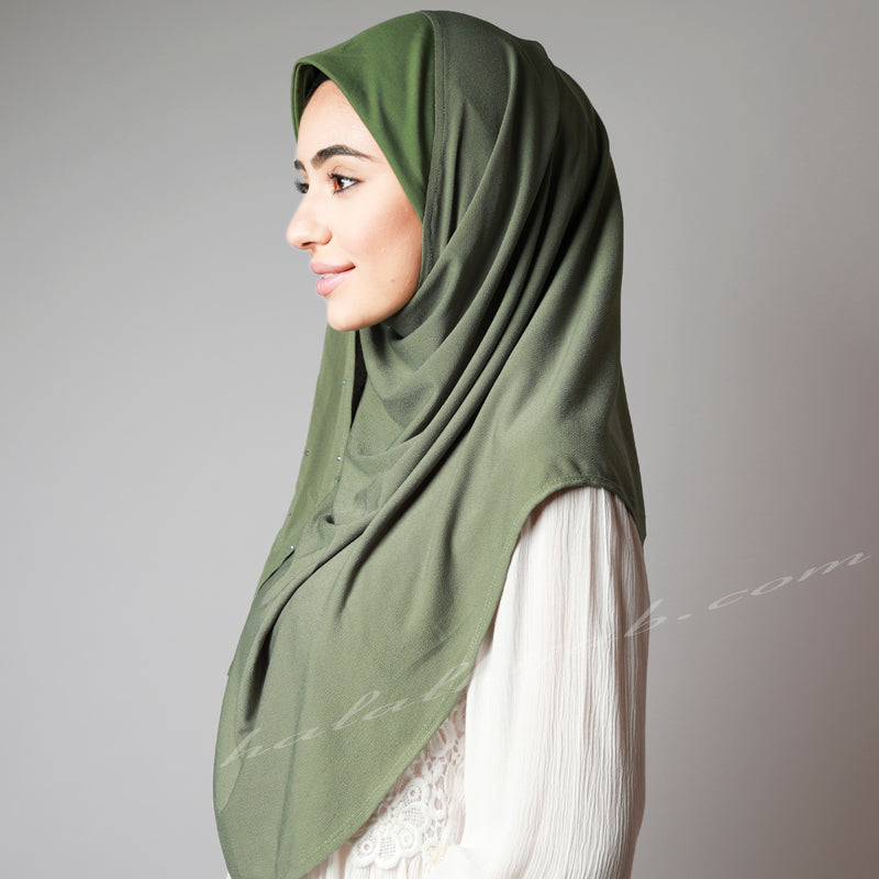 Vivid Olive Green Crystallised Stretchy Party Hijab