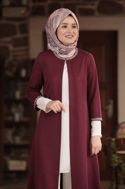 Three Pieces Maroon and White Modest Elegant Suit Pants