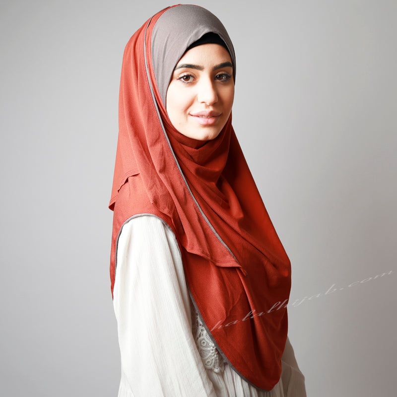 Matte Vivid Dark Orange Coffee Contrast Instant Hijab