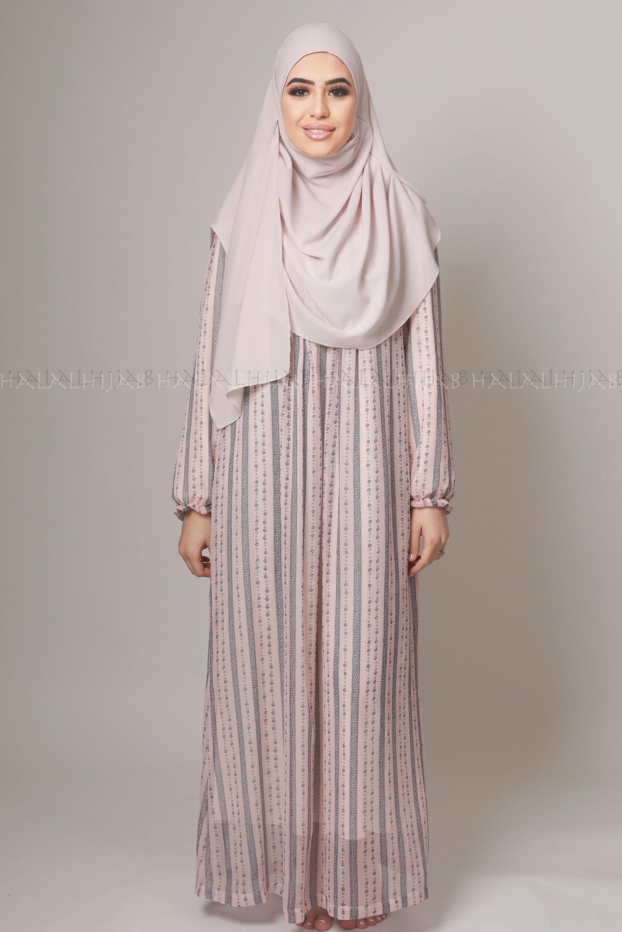 Light Pink Blue Stripped Maxi Dress