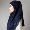 Navy Blue Georgette Pin-Free Instant Plain Hijab