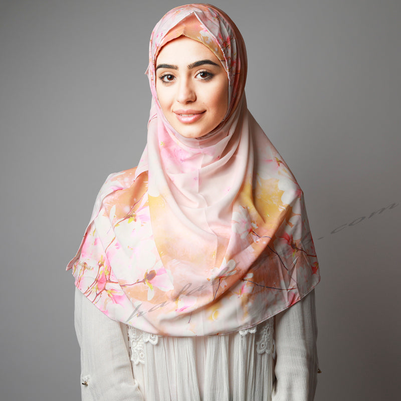 Orange Yellow Pink Floral Print Instant Hijab