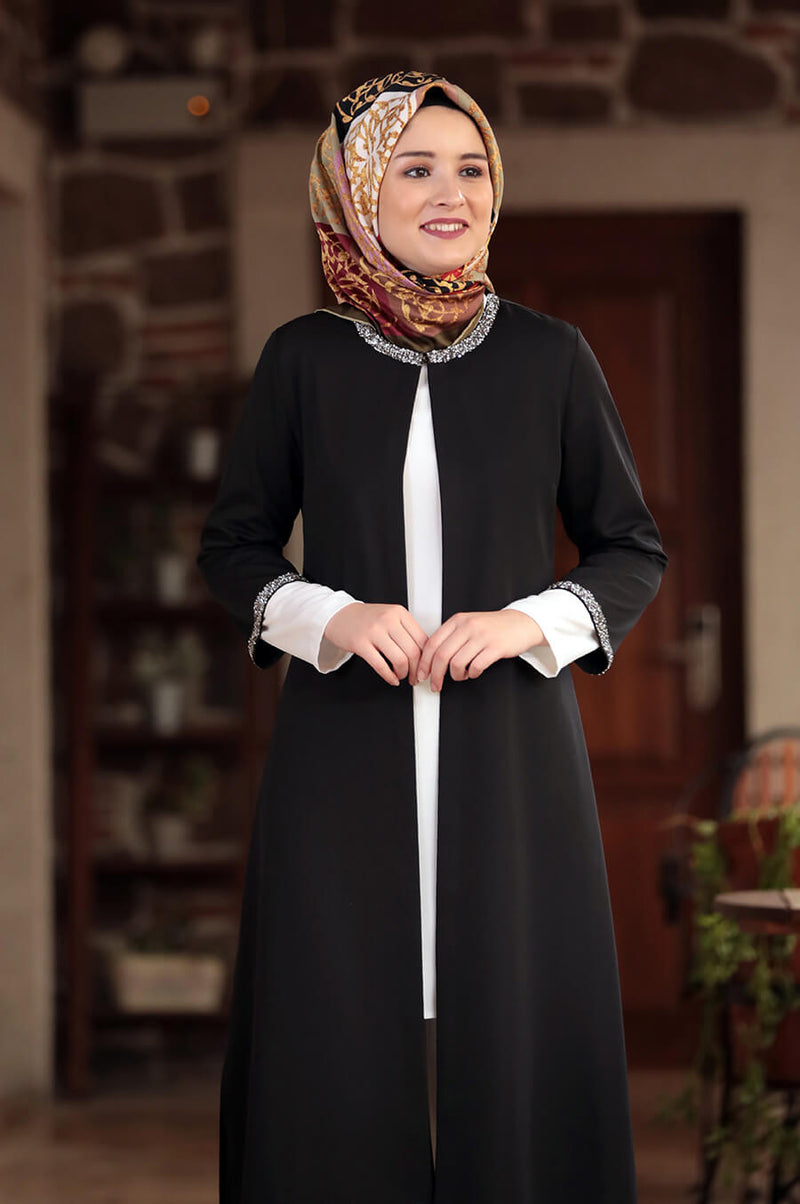 Three Piece Black and White Modest Muslima Suit Pants