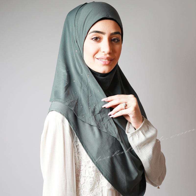 Dusty Pale Olive Crystal Dotted Party Hijab