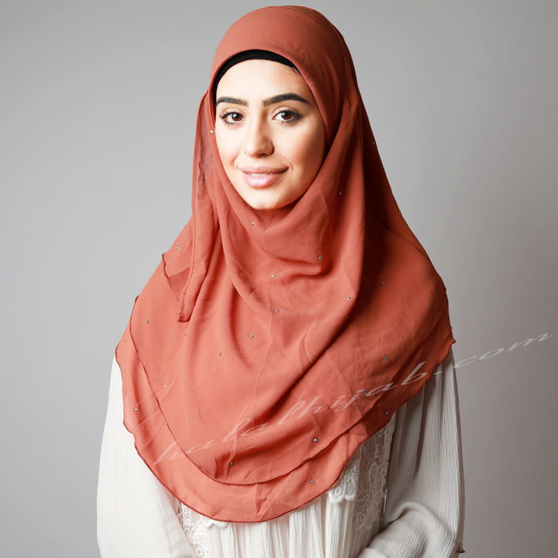 Matte Orange Chiffon Crystallised Instant Pinless Hijab