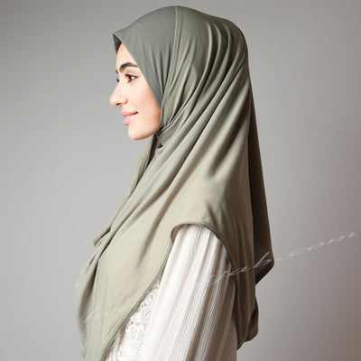 Light Jade Stone Dusty Matte Lime Green Instant Hijab