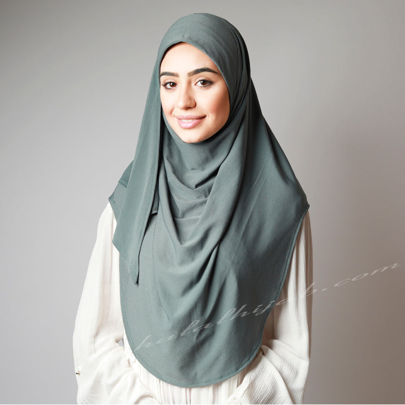 Dusty Light Pale Olive Pin-Free Stretchy Instant Plain Hijab