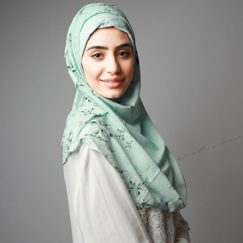 Light Mint Pastel Green Printed Luxurious Instant Hijab