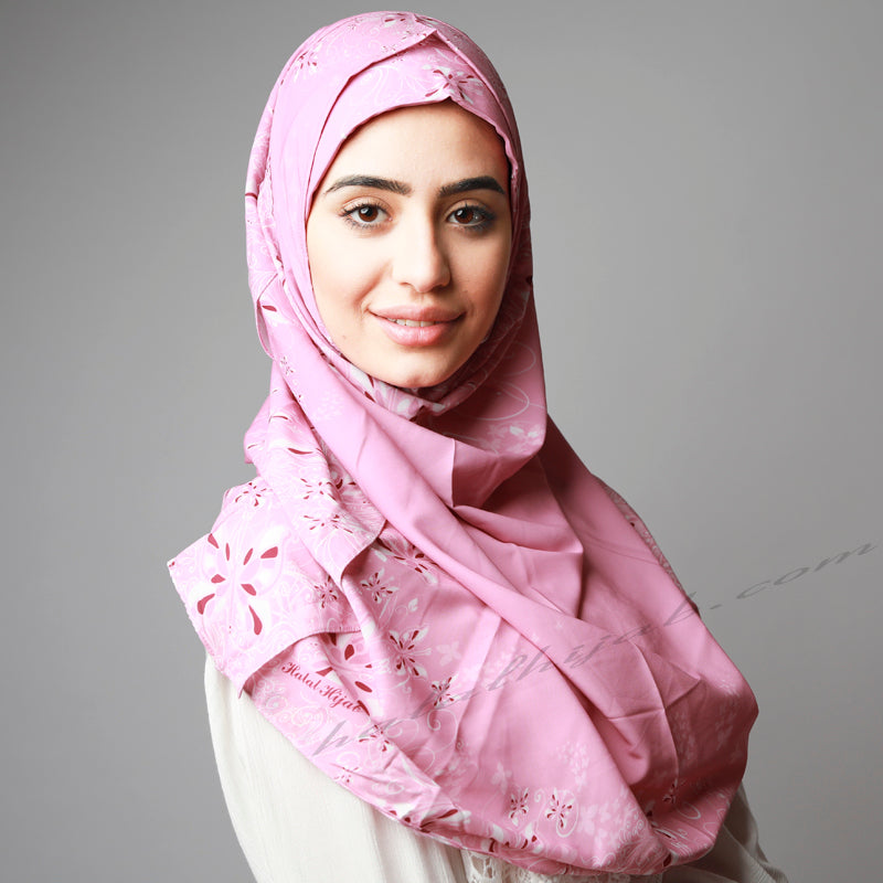 Pink Printed Soft Classy Ready to Wear Hijab