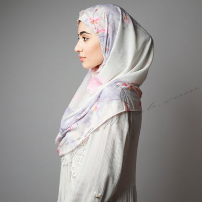 Pink Purple Cherry Blossom Print Easy Instant Hijab