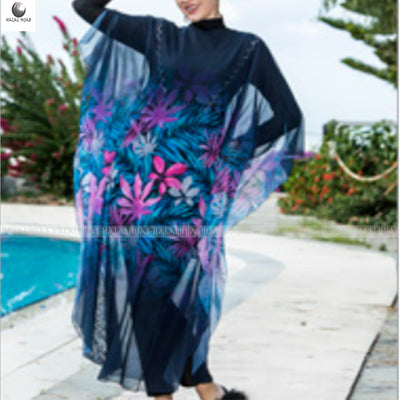Pink Blue Floral Print Swim Wear Cover Up