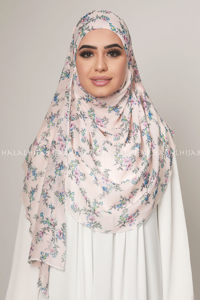 Pink Floral Chiffon Inner-Free Pin-Free Multi Style Hijab