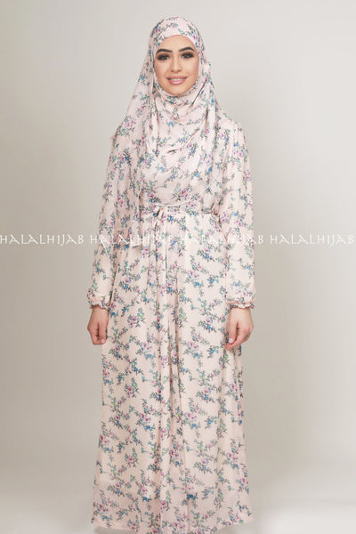 Pink Blue Floral Printed Islamic Clothing