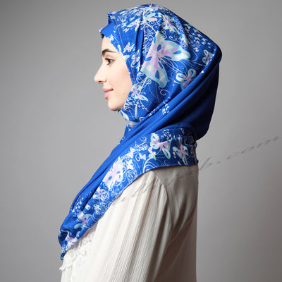 Bright Royal Blue print instant print Hijab, Hijab online  Australia,Hijab style, Hijab fashion, How to wear Hijab? Haute,Hijab Women, Hijab House,