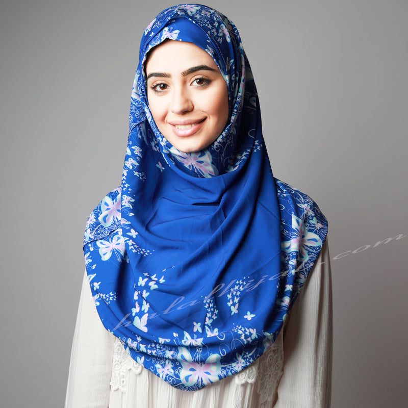 Bright Royal Blue Print Quick Easy Instant Hijab