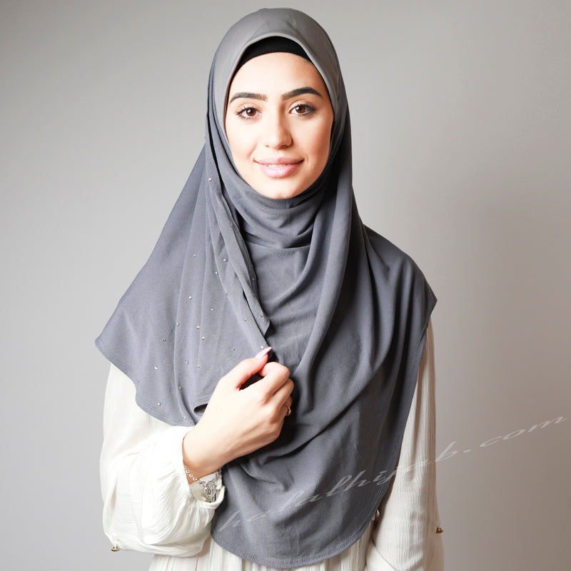Silver Stone Grey Crystallised Stretchy Party Hijab