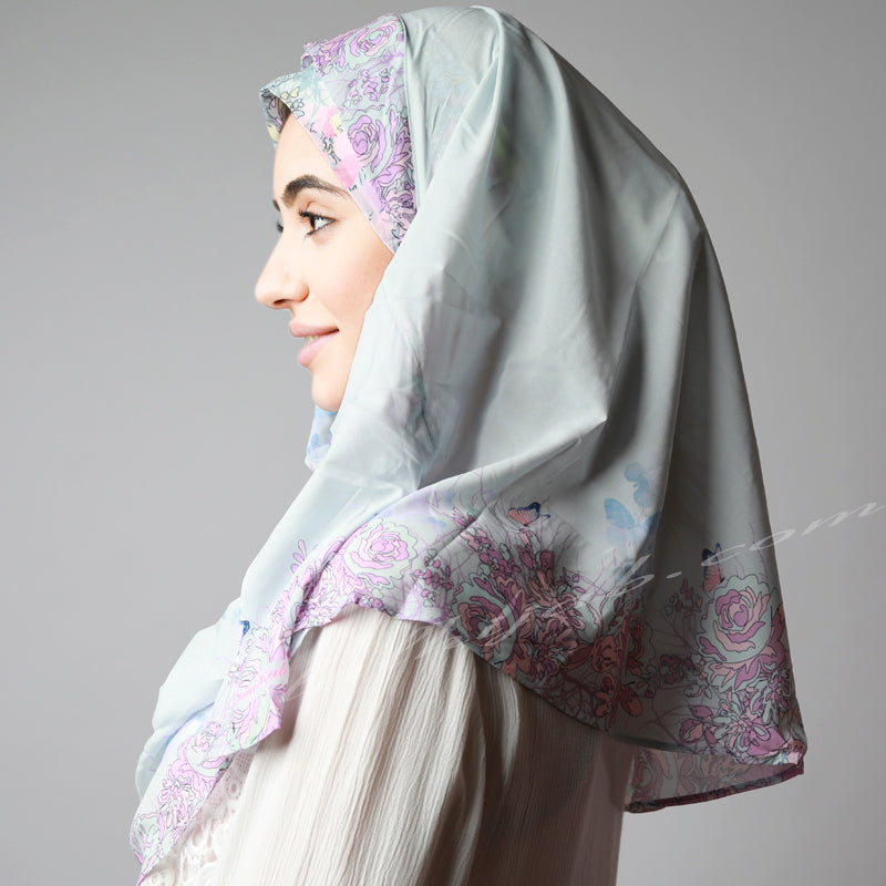 Sky Blue Pink Border Print Elegant Two Piece Instant Hijab