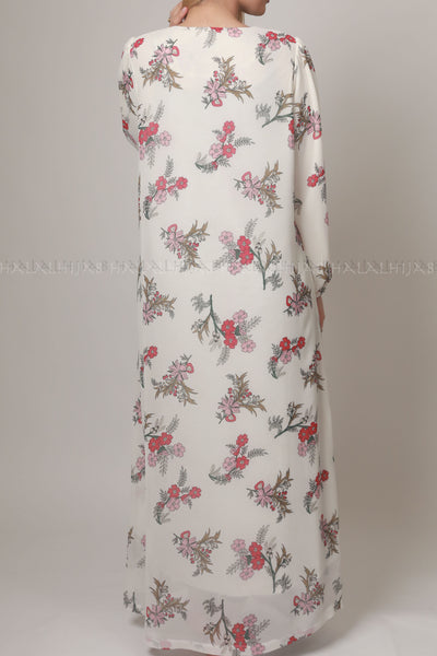 Red Floral White Chiffon Modest Dress
