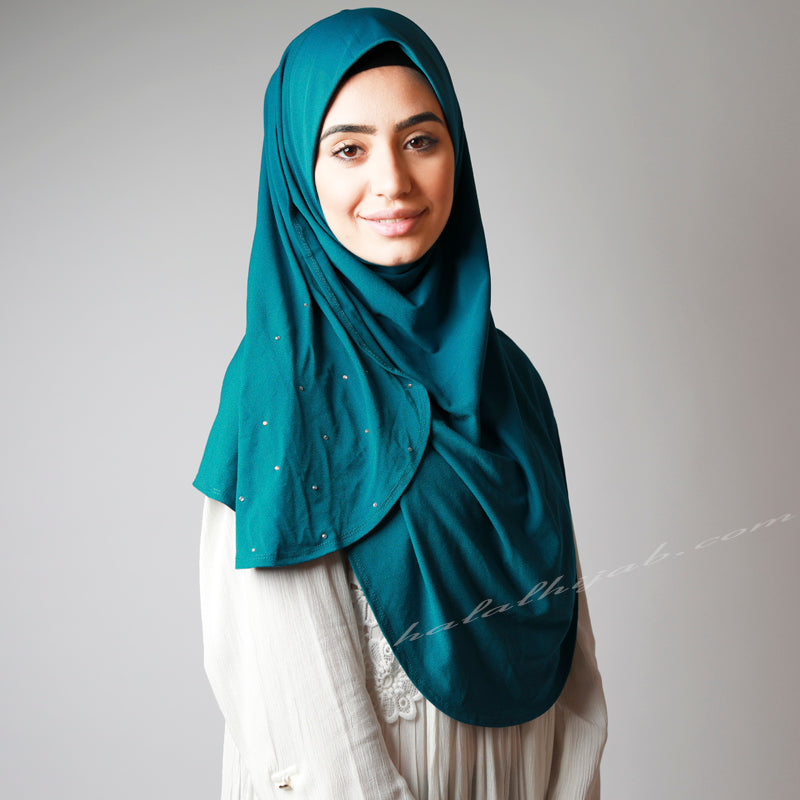 Teal Blue Sequinned Slip-on Party Hijab