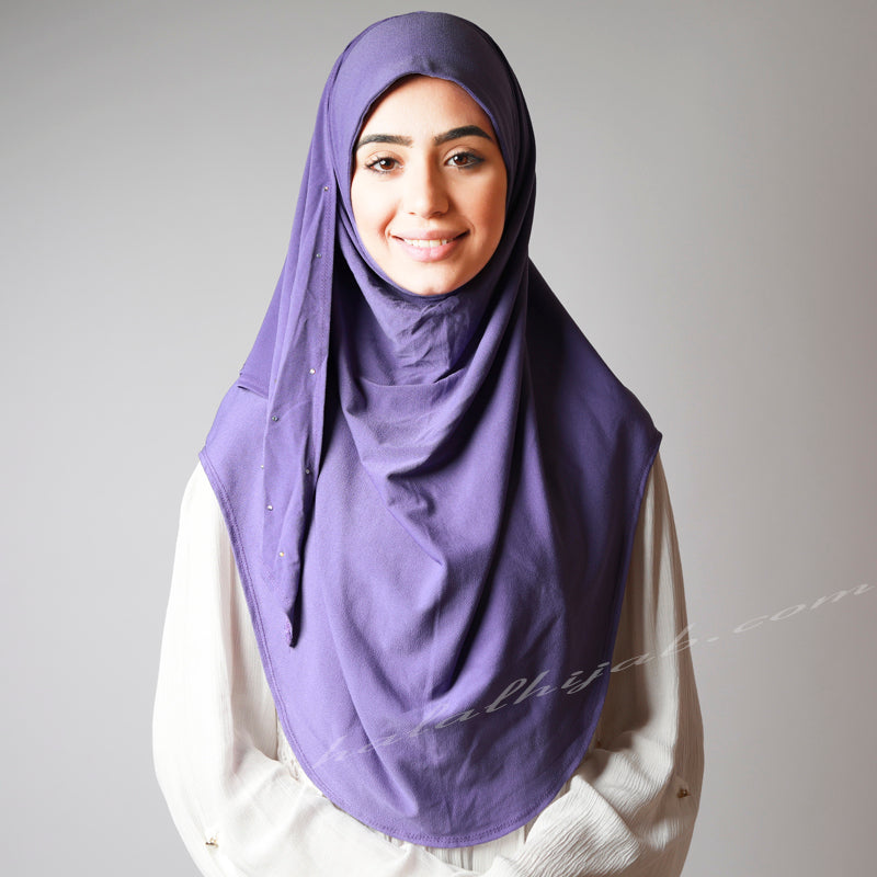 Jacaranda Violet Crystal Dotted Stretchy Party Hijab