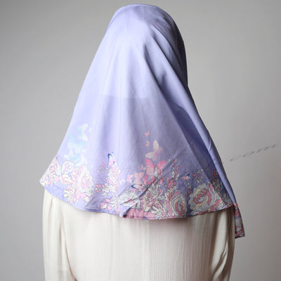 Violet Pink Border Print Gorgeous Two Piece Instant Hijab