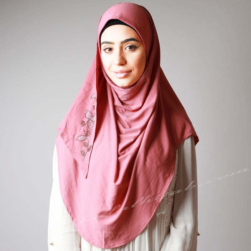 Matte Rose Pink Leafy Floral Crystal Embellished Party Hijab