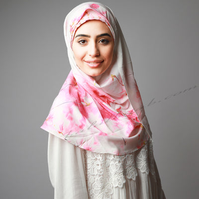 White Bright Pink Floral Print Instant Luxury Hijab