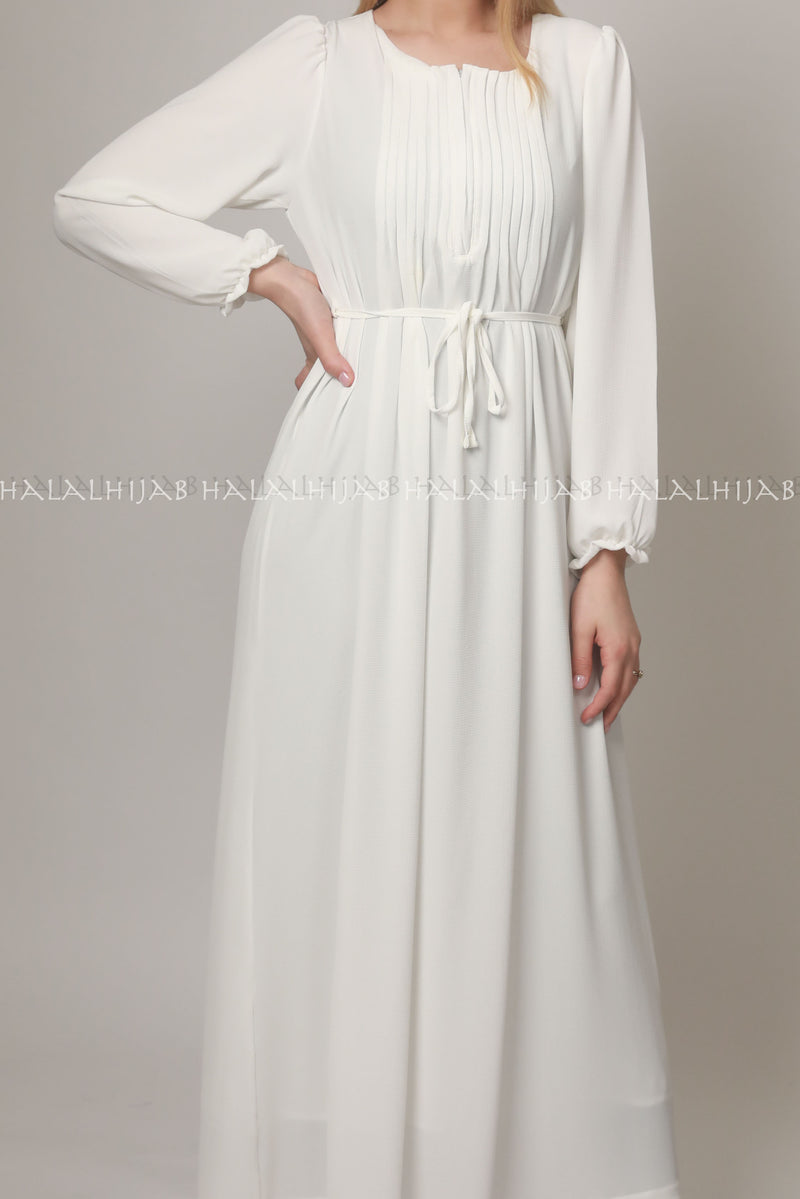 White Georgette Full Sleeve Long Dress