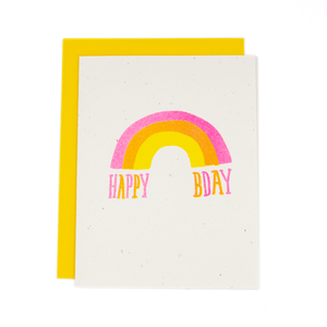 Happy Birthday Rainbow Risograph Card