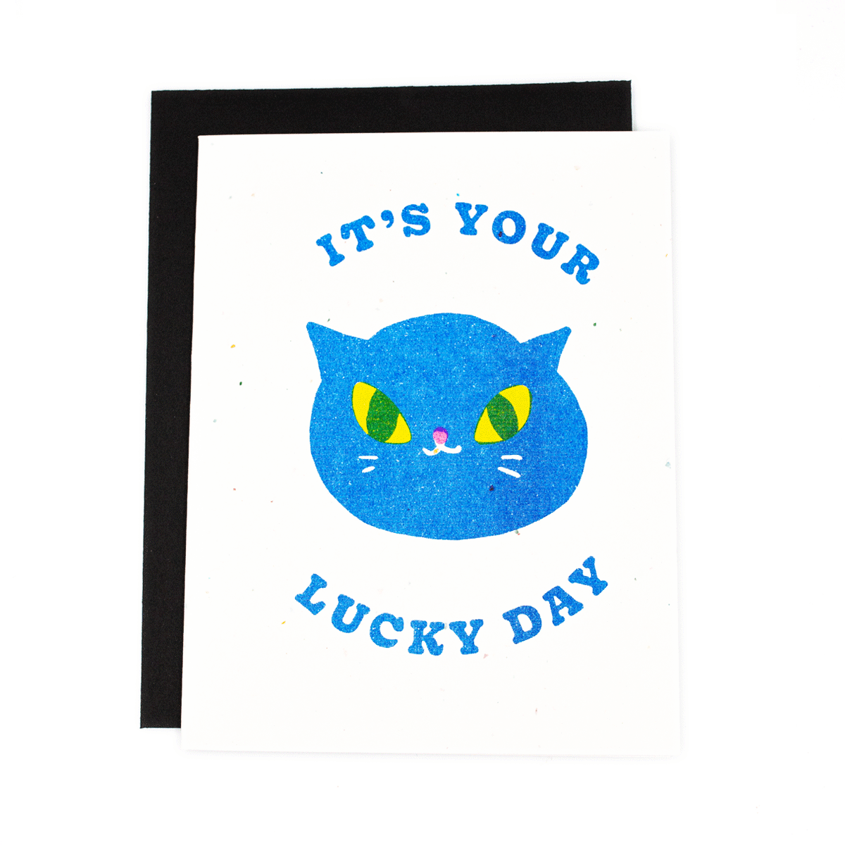 Lucky Day Black Cat Risograph Card