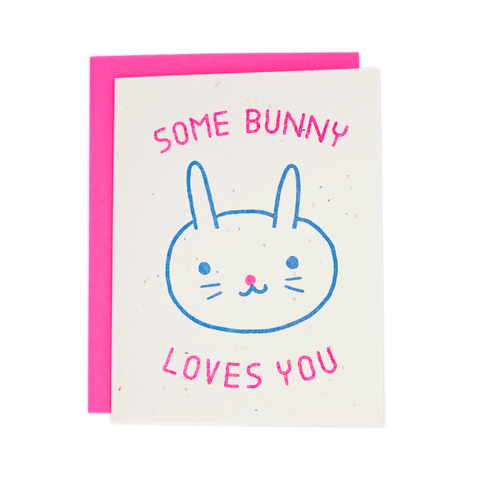 Some Bunny Loves You Risograph Card