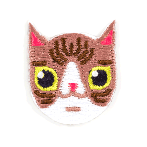 Brown and White Cat Sticker Patch