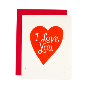 I Love You Heart Risograph Card
