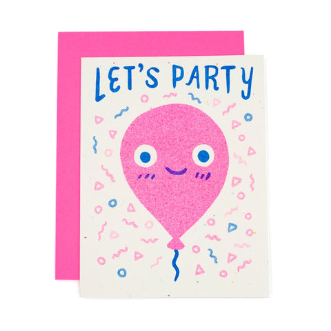 Let's Party Balloon Risograph Card