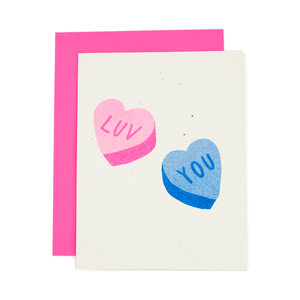 Luv You Candy Hearts Risograph Card