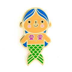 Mermaid Baby Pin - Blue Hair