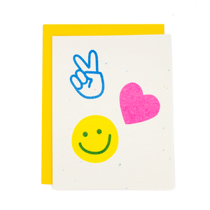 Peace Love and Happiness Risograph Card